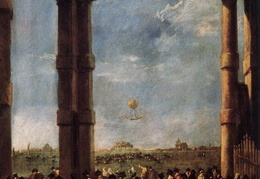 Francesco Guardi. Oro baliono pakilimas. 1784 m.